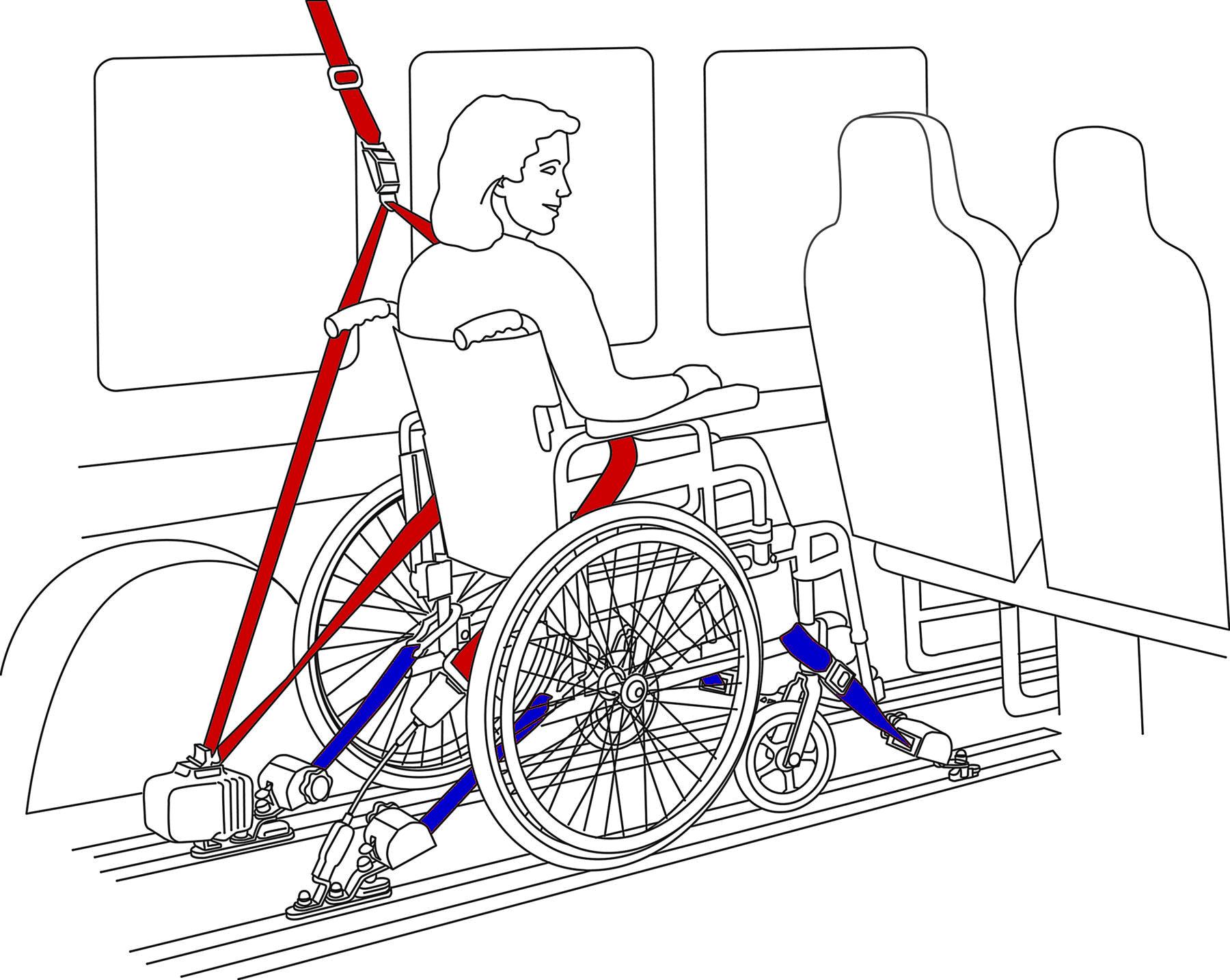 Arrimage fauteuil roulant véhicule handicapé TPMR Arrimage fauteuil roulant arrimage occupant