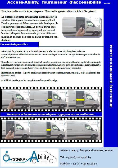 Brochure kit automatisation porte coulissante laterale