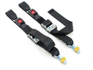 Wheelchair tie-down rear belts