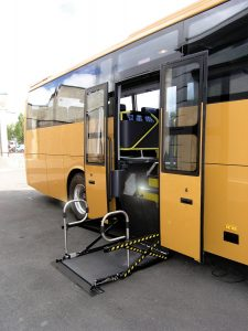 Cassette wheelchair lift for coaches and buses